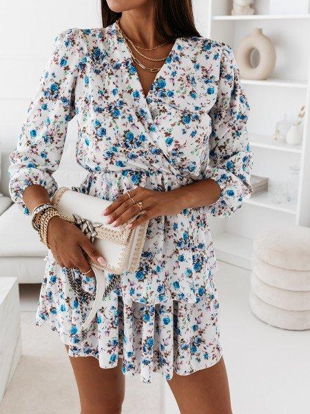 Rozkloszowana sukienka w print BONITA - wzór 67