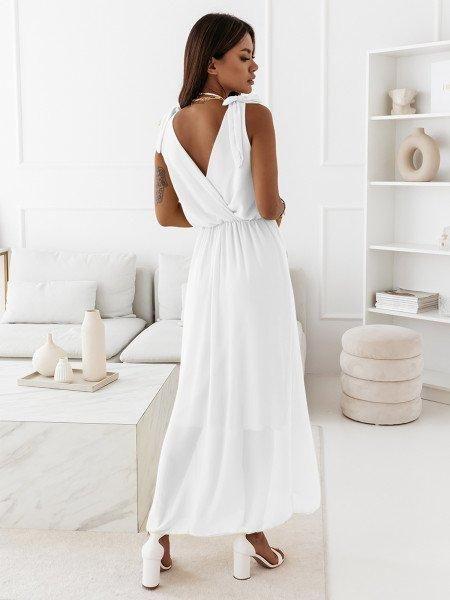Szyfonowa maxi sukienka - MADAME - biała