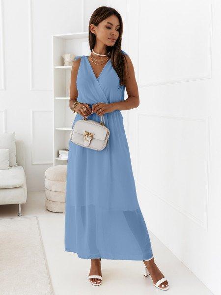 Szyfonowa maxi sukienka - MADAME - błękitna