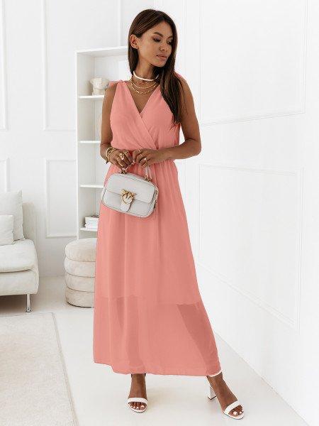 Szyfonowa maxi sukienka - MADAME - pudrowy róż
