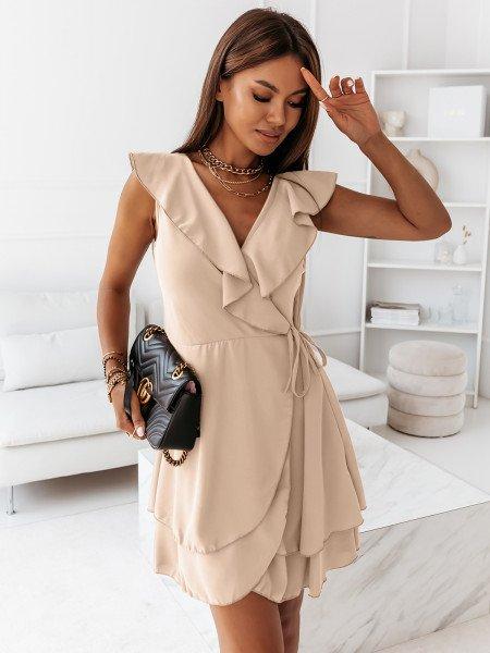 Kopertowa rozkloszowana sukienka MOON - jasny beż