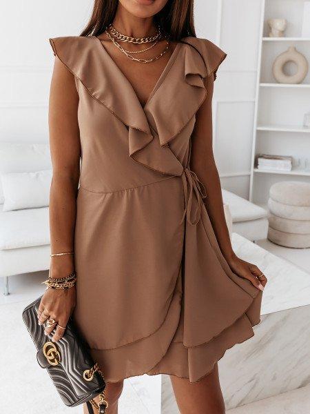 Kopertowa rozkloszowana sukienka MOON - ciemny beż