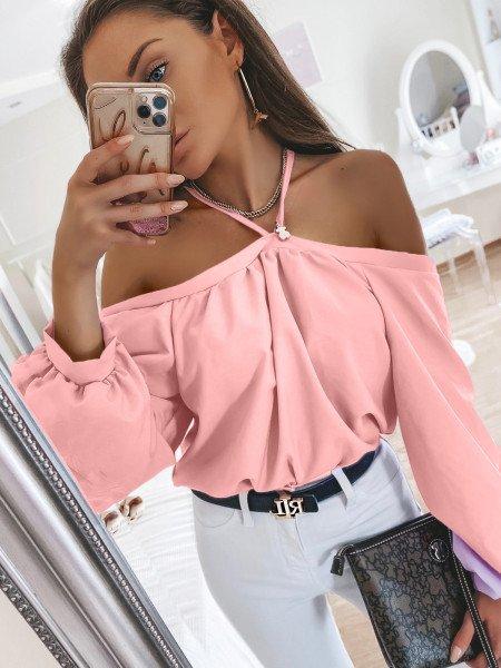 Bluzka oversize FRANCE - pudrowy róż