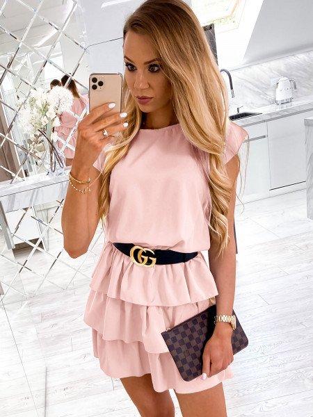 Mini sukienka z falbankami CLEO - pudrowy róż