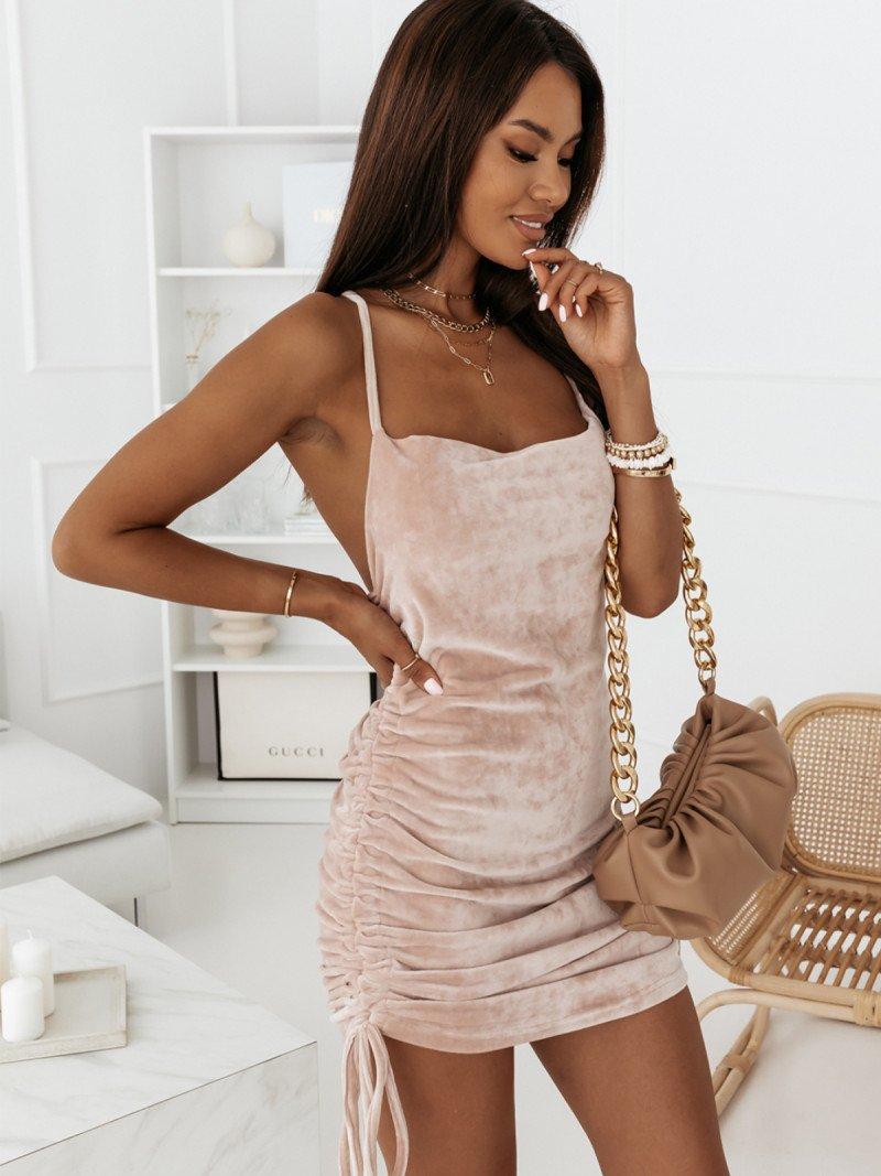 Modna welurowa sukienka GISELE - beżowa