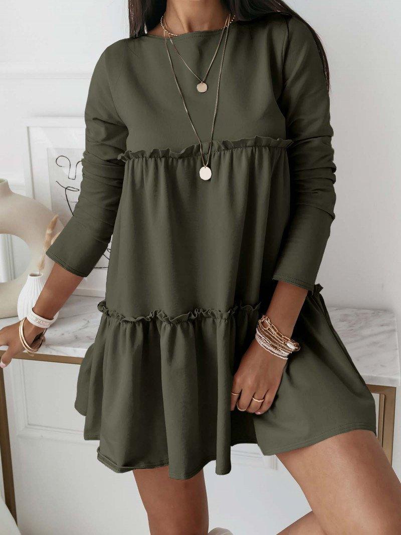 Trapezowa sukienka z falbanami -...