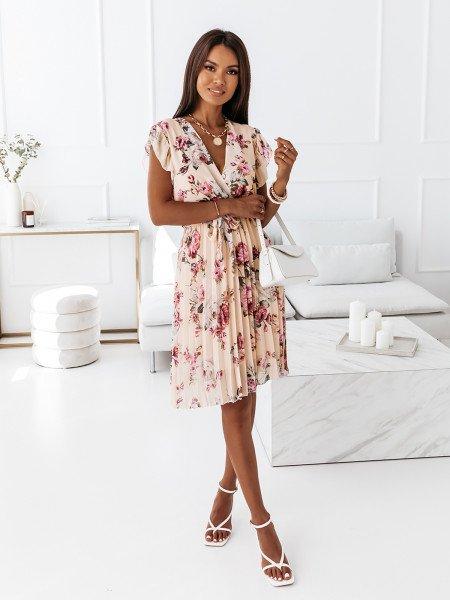 Sukienka w kwiatowy print - CELEBRATION - beżowa