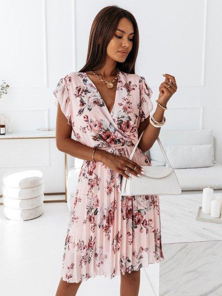 Sukienka w kwiatowy print - CELEBRATION - pudrowy róż