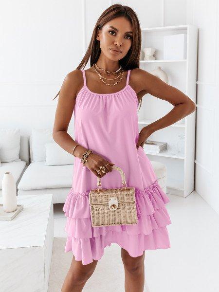 Trapezowa sukienka na ramiączkach - VIKI - liliowa