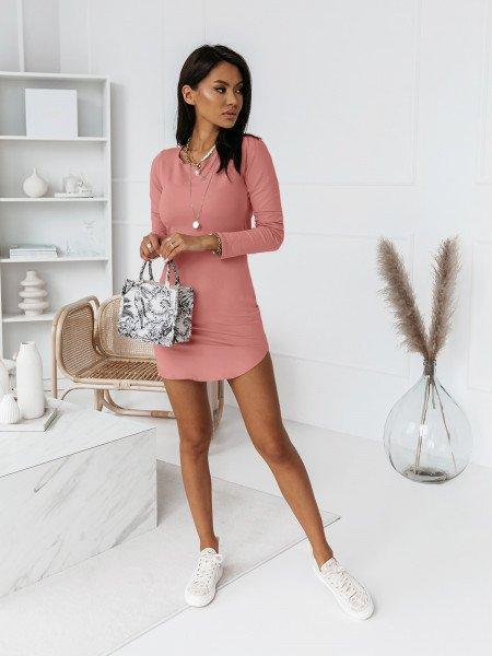 Dopasowana seksowna sukienka RESSE - brudny róż