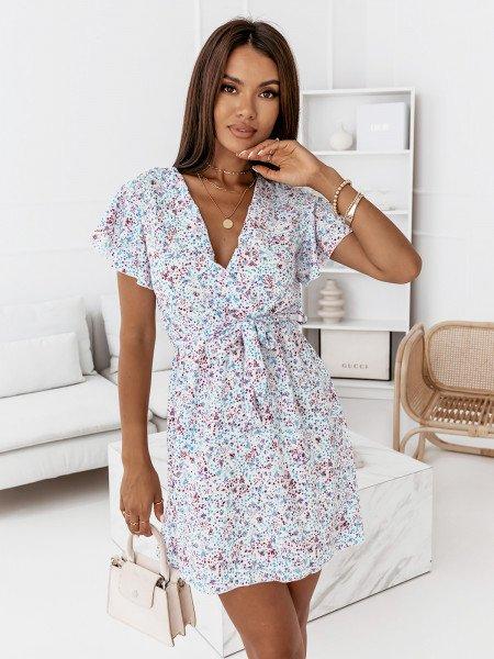 Sukienka w print z kopertowym dekoltem - LANETTE - wzór 3