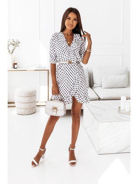 Retro sukienka w grochy NOELLE - biel