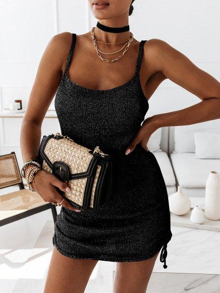Dzianinowa sukienka ze srebrną nitką TINSEL - czarna