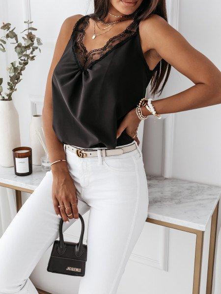Klasyczna bluzka top z koronką MARGARET - czarna