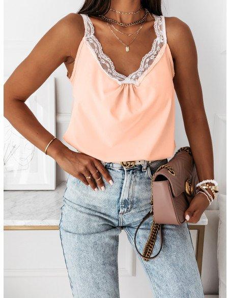 Klasyczna bluzka top z koronką MARGARET - brzoskwiniowa