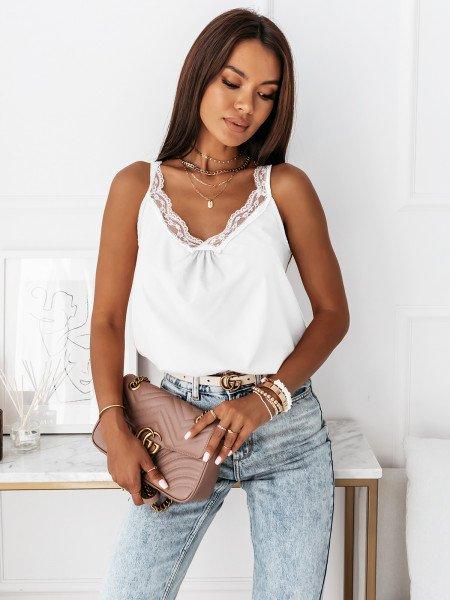 Klasyczna bluzka top z koronką MARGARET - biała