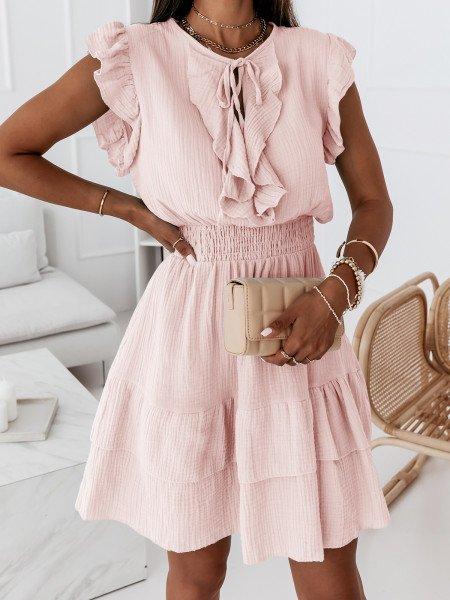 Muślinowa sukienka z falbanami - REBECA - pudrowy róż