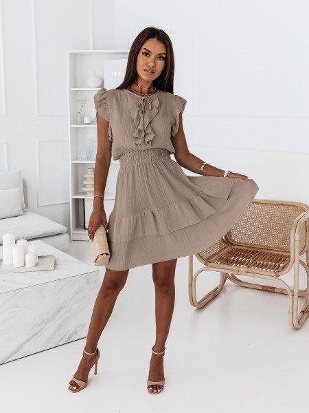 Muślinowa sukienka z falbanami - REBECA - beżowa