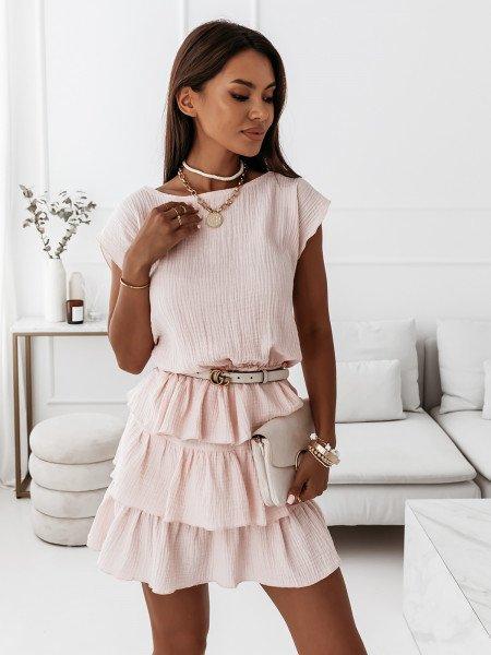 Muślinowa sukienka z falbanami - TRINI - pudrowy róż
