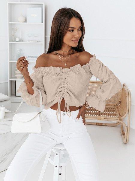 Muślinowa bluzka hiszpanka - SOLLY - beżowa