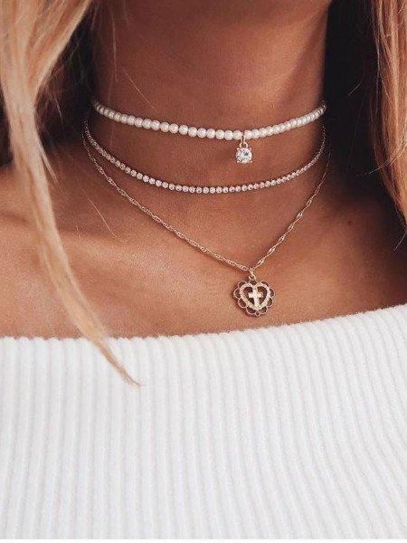 Złoty naszyjnik serce perły