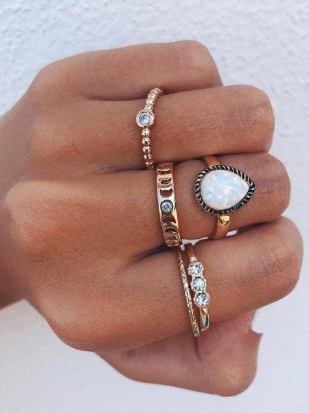 Zestaw 5 pierścionków multi złote