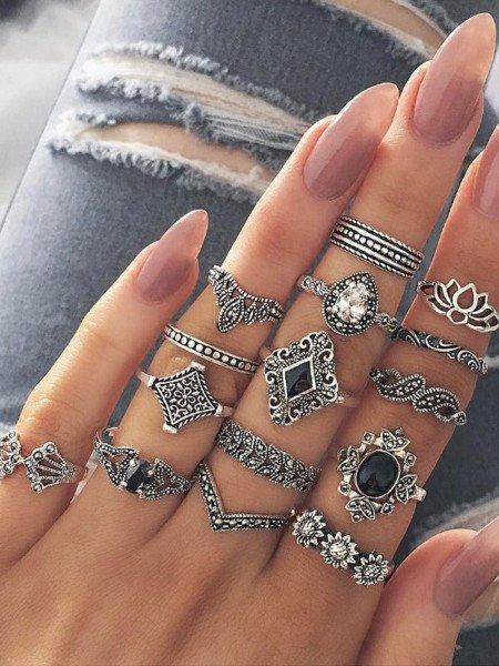 Zestaw 15 pierścionków multi srebrne