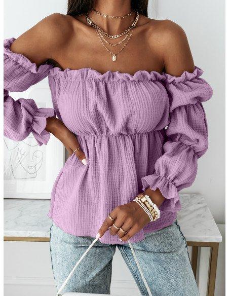 Muślinowa bluzka hiszpanka - AFTERNOON - liliowa