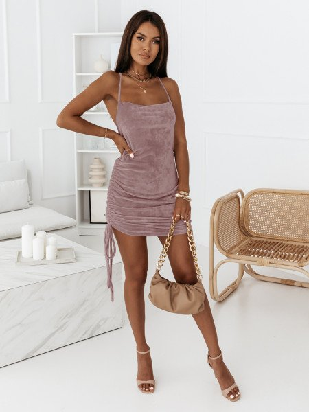 Welurowa sukienka GISELE - ciemny wrzosowy