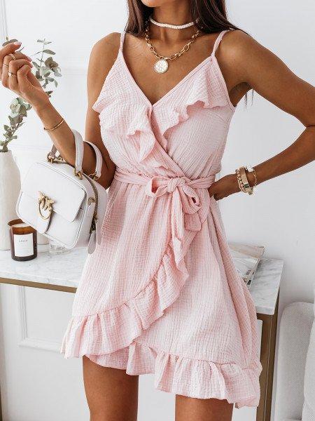 Muślinowa sukienka na ramiączkach - VALLERY - pudrowy róż