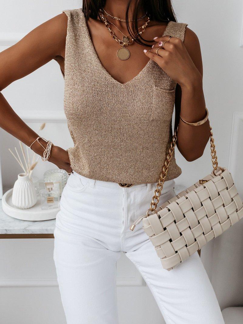 Sweterkowa bluzka top z kieszonką...