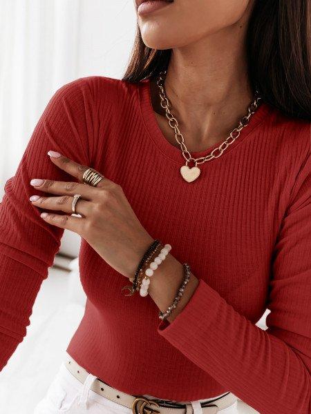Prążkowana klasyczna bluzka ROSALIE - czerwona