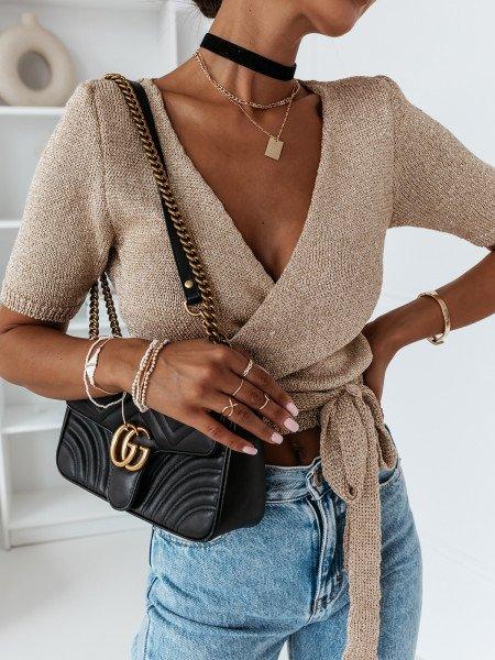 Sweterkowa kopertowa bluzka AURUM - złota