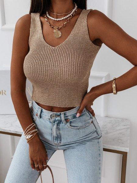 Sweterkowa bluzka top na ramiączkach ALTIN - złoty