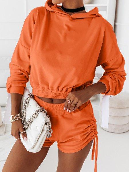 Welurowy komplet dresowy bluza + spodenki LEA - neon orange