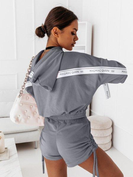 Welurowy komplet dresowy bluza + spodenki LEA - szary