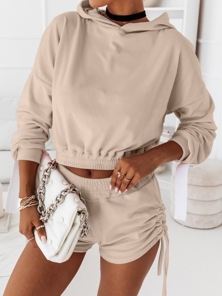 Welurowy komplet dresowy bluza + spodenki LEA - beżowy