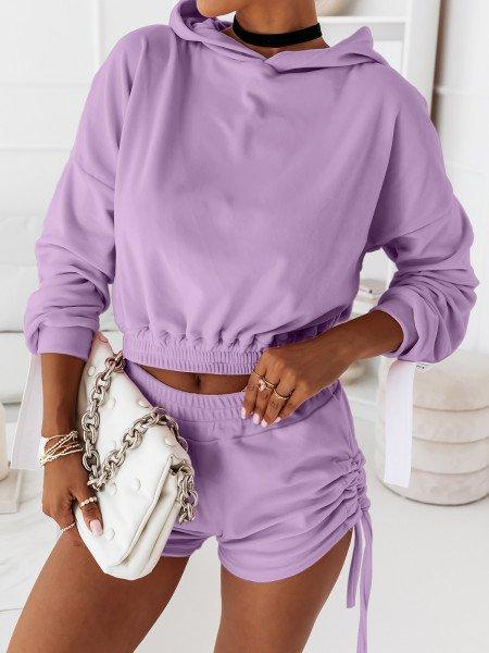 Welurowy komplet dresowy bluza + spodenki LEA - liliowy