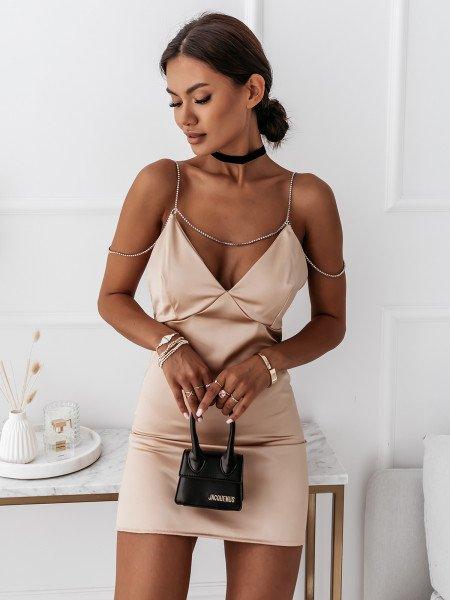 Satynowa sukienka na ramiączkach URREA - złota