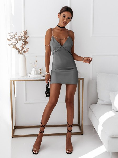 Satynowa sukienka na ramiączkach URREA - srebrna