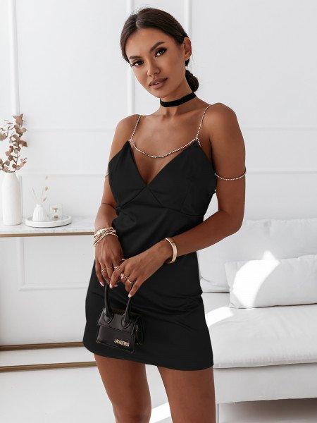 Satynowa sukienka na ramiączkach URREA - czarna