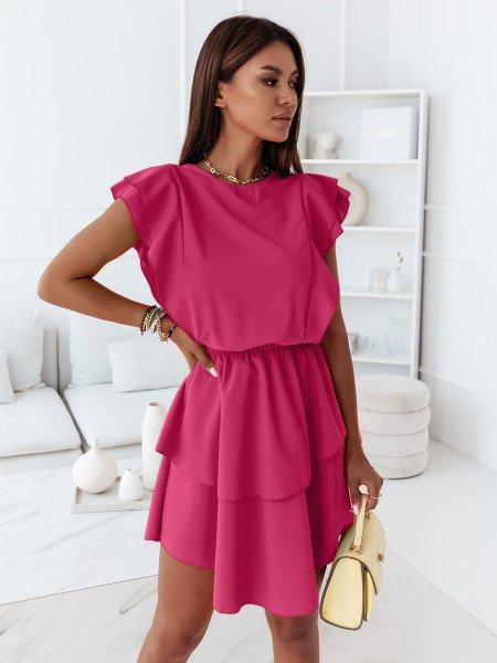 Rozkloszowana sukienka z falbanką - OMENA - różowa