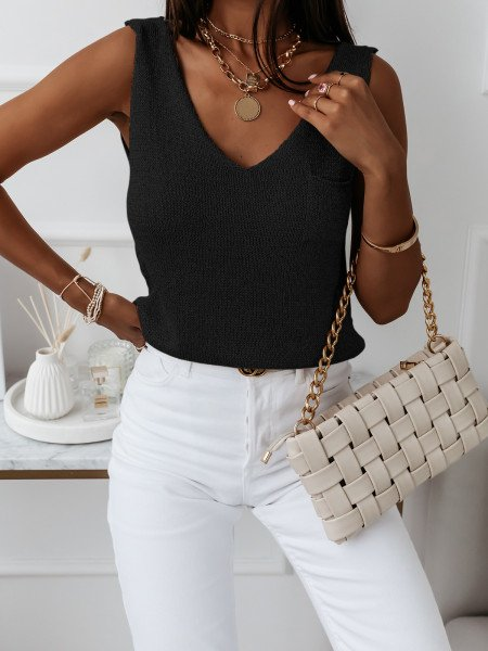 Sweterkowa bluzka top z kieszonką BAYWATCH - czarny