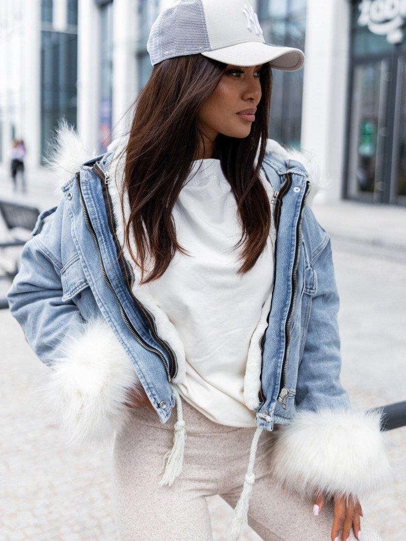Ocieplana jeansowa kurtka z futerkiem...