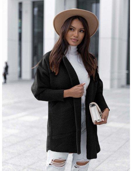 Oversizowy płaszcz alpaka - Lani - czarny