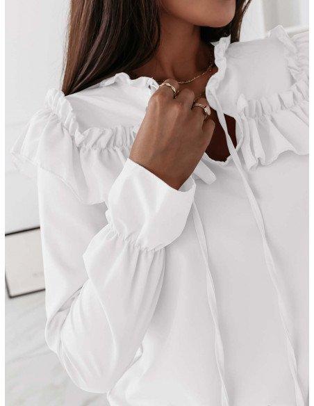 Bluzka z wiązanym dekoltem VERONA - biała