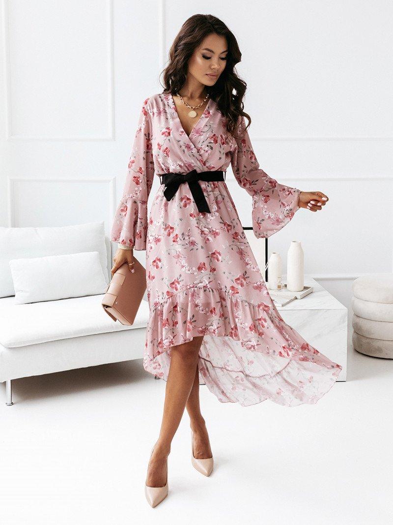 Asymetryczna sukienka z przedłużanym tyłem - ELIANA - pudrowy róż
