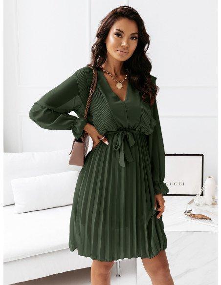 Szyfonowa sukienka z falbanami - ZERA - butelkowa zieleń