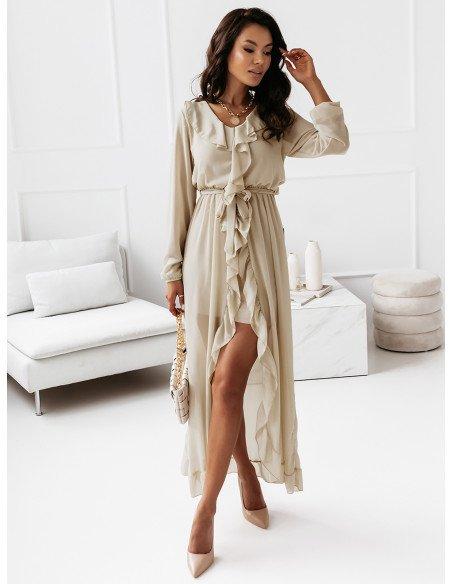 Sukienka maxi z falbanami - CAREN - beżowa