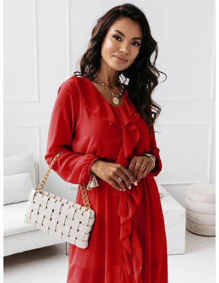 Sukienka maxi z falbanami - CAREN - czerwona